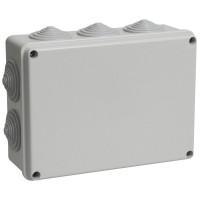 Коробка КМ41244 распаячная для о/п 190*140*70мм IP55 (RAL7035, 10 гермовводов)