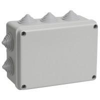 Коробка КМ41241 распаячная для о/п 150*110*70мм IP44 (RAL7035, 10 гермовводов)
