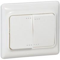 782103 ВСП-2  Выключатель двойн. с подсв.10 А белый Каптика