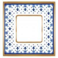 FD01341AZOB Рамка на 1 пост. VINTAGE PORCELAIN гор/верт цвет BLUE LYS- Bright Gold