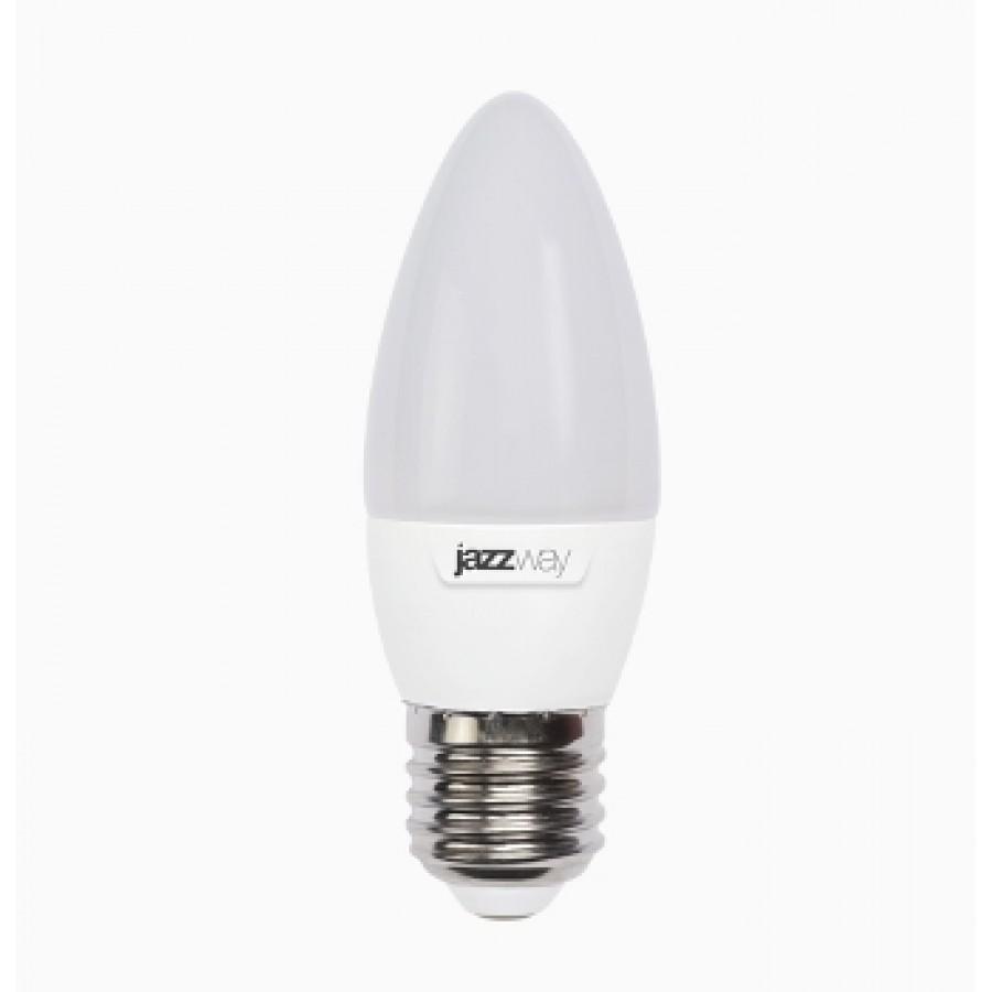 Лампа светодиод.PLED-SP свеча 7W 230V E27 3000К 530lm(2700К)  Jazzway, лампочка