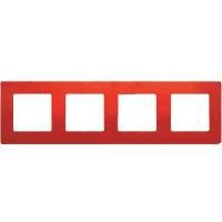 672534 Рамка 4поста цвет красный ETIKA