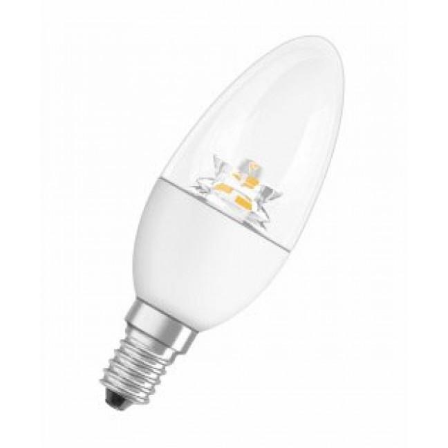 Лампа светодиод.LS CLB 5.4W 220V E14 3000К 40LED прозр.свеча с линзой Osram, лампочка