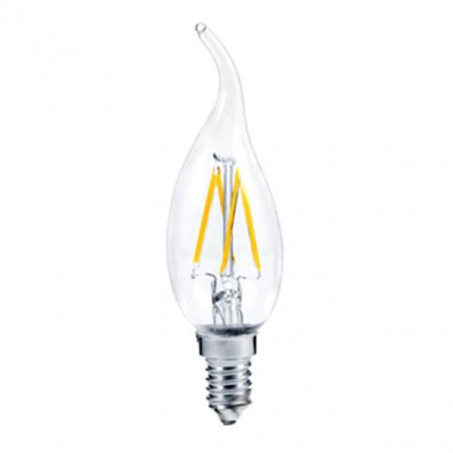 Лампа светодиод.candle LED 5,0W 220V E14 2700К 360гр филамент прозр свеча на ветру 125*37(N4YW50ELC), лампочка