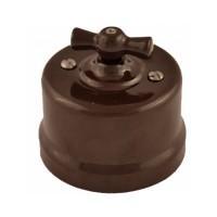 Выключатель 1кл. проходной, керамика, цвет коричневый Лизетта B1-201-02 (Бирони)