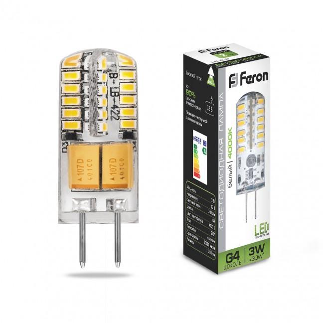Лампа светодиод. LED 3W G4 12v 4000K (11*38) LB-422, лампочка