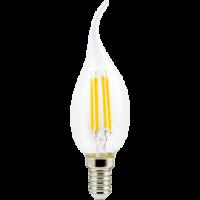 Лампа светодиод.LED 6,0W 220V E14 4000К 360гр филамент прозр свеча на ветру 125*37(N4UV60ELC)Premium, лампочка