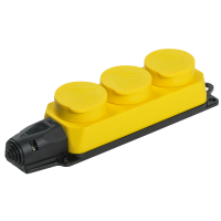 РБ33-1-0м Розетка(колодка) желтая 3-местная с защ.крышками IP44  ОМЕГА