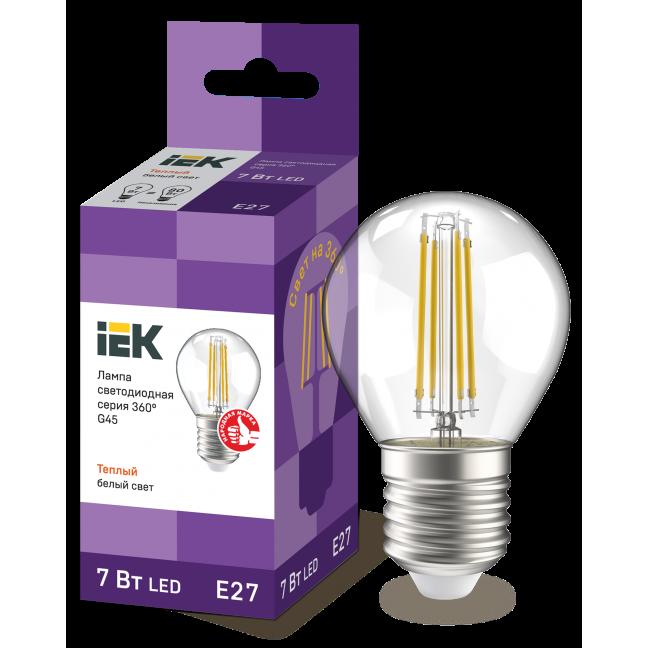 Лампа светодиод.globe G45 LED 7W 230V E27 3000К филамент шар прозр. 360гр IEK, лампочка