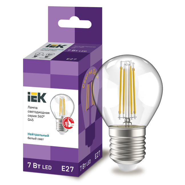 Лампа светодиод.globe G45 LED 7W 230V E27 4000К филамент шар прозр. 360гр IEK, лампочка