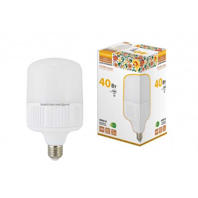 Лампа светодиод.T120 40W 230V E27 4000K Народная TDM, лампочка