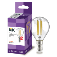 Лампа светодиод.globe G45 LED 7W 230V E14 3000К филамент шар прозр. 360гр IEK, лампочка