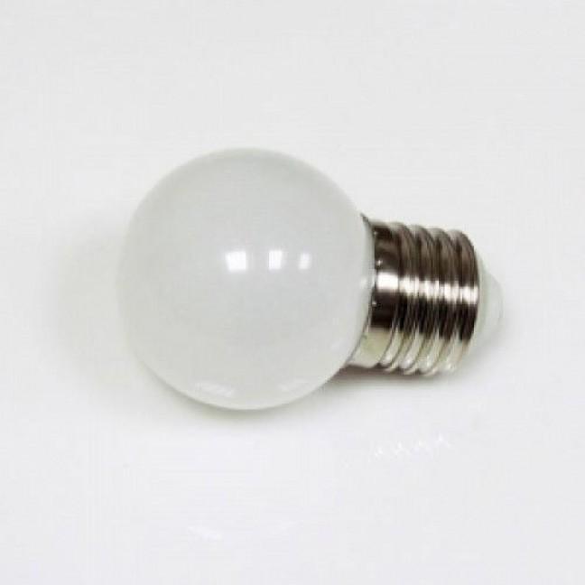 Лампа  LED 1W Е27 d45 мм мультиколор (7цветов), лампочка