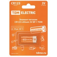 Элемент питания CR123А 1*BL TDM (батарейка)