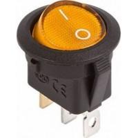 Переключатель клавишный MIRS-101-3-Y кругл. черн.корпус желт.клавиша 2 полож.1з с подсветкой TDM