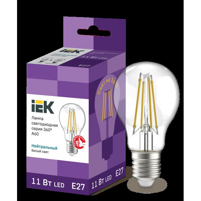 Лампа светодиод.classic А60 LED 11W 230V E27 4000К филамент 360гр IEK, лампочка