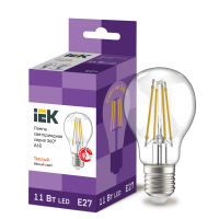 Лампа светодиод.classic А60 LED 11W 230V E27 3000К филамент 360гр IEK, лампочка