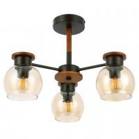 SLE108102-03 Люстра потолочная черный, Темное дерево/прозрачный, янтарный E27 3*60W