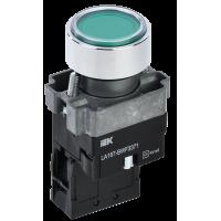 Кнопка LA167-BWF3371 RC зеленая 1з с подсветкой IP67 ИЭК