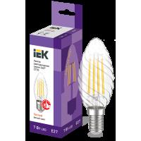 Лампа светодиод.LED 7,0W 230V E27 3000К 360гр филамент витая свеча IEK, лампочка