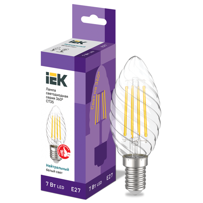 Лампа светодиод.LED 7,0W 230V E27 4000К 360гр филамент витая свеча IEK, лампочка